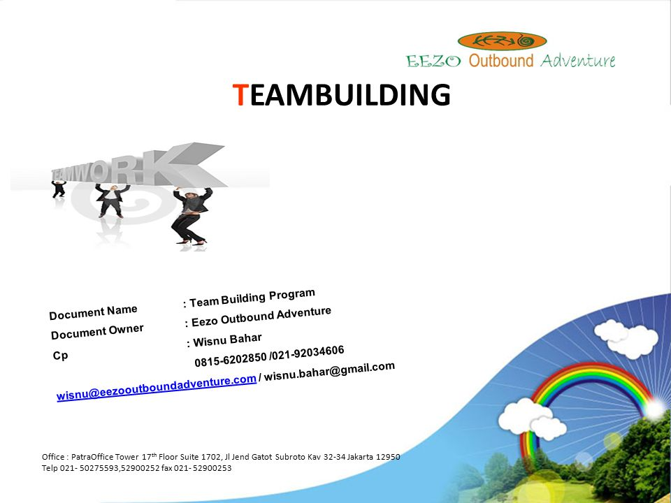 TEAMBUILDING Document Name : Team Building Program