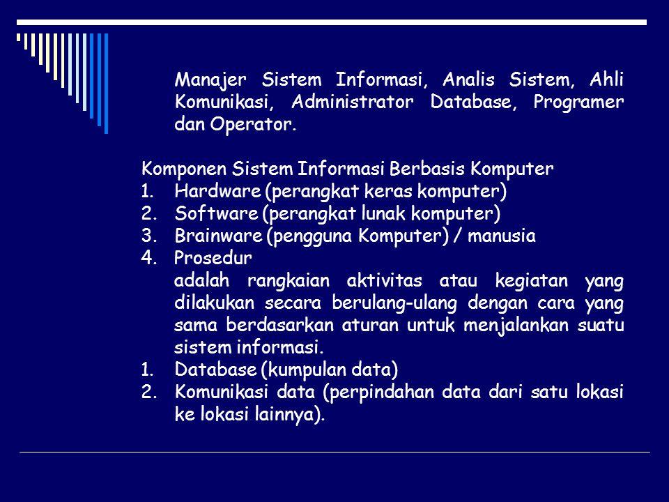 Manajer Sistem Informasi, Analis Sistem, Ahli Komunikasi, Administrator Database, Programer dan Operator.