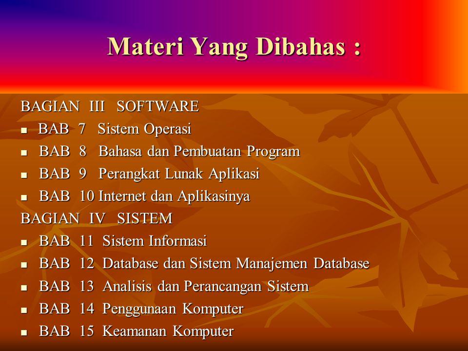 Materi Yang Dibahas : BAGIAN III SOFTWARE BAB 7 Sistem Operasi