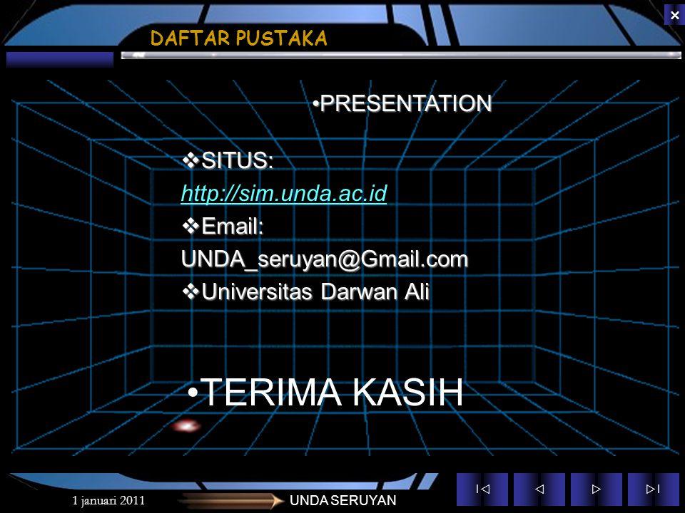 TERIMA KASIH PRESENTATION SITUS: http://sim.unda.ac.id Email: