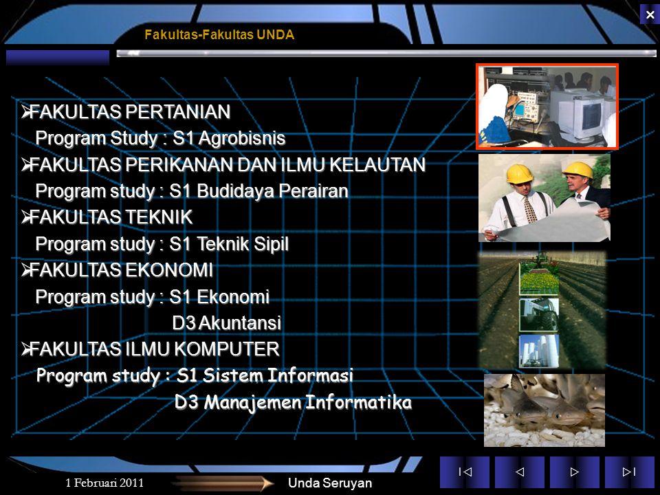 Program Study : S1 Agrobisnis FAKULTAS PERIKANAN DAN ILMU KELAUTAN