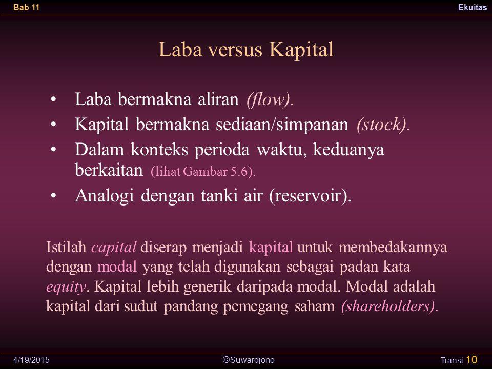 Laba versus Kapital Laba bermakna aliran (flow).