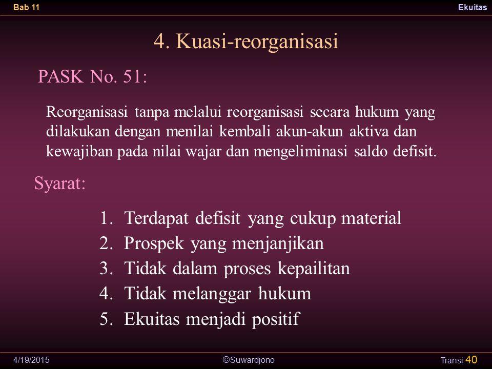 4. Kuasi-reorganisasi PASK No. 51: Syarat: