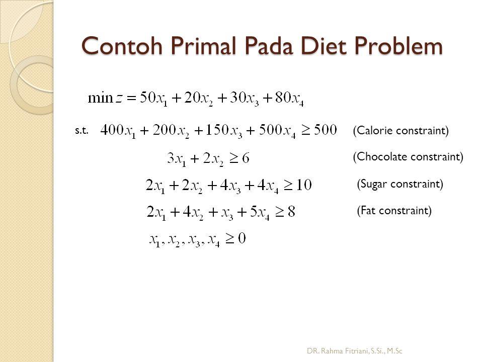 Contoh Primal Pada Diet Problem