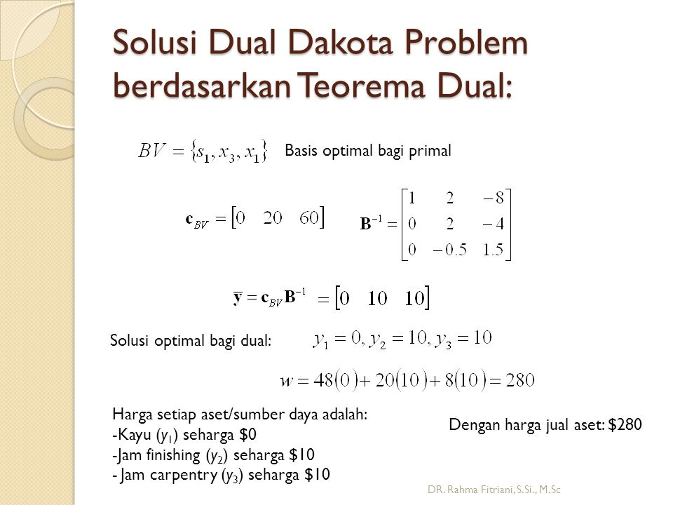 Solusi Dual Dakota Problem berdasarkan Teorema Dual: