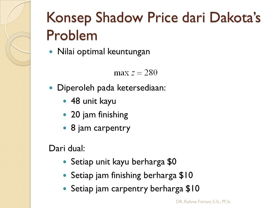 Konsep Shadow Price dari Dakota's Problem