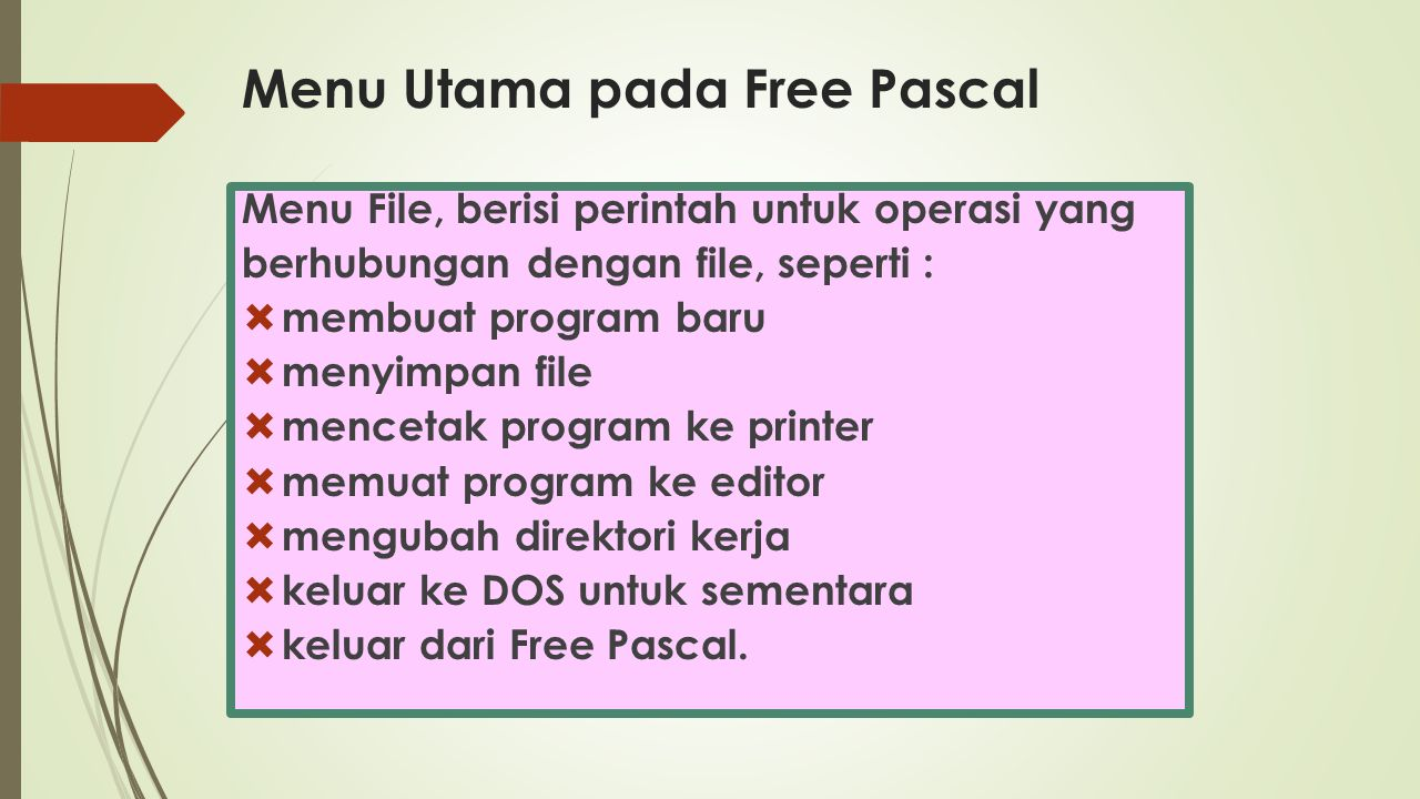 Menu Utama pada Free Pascal