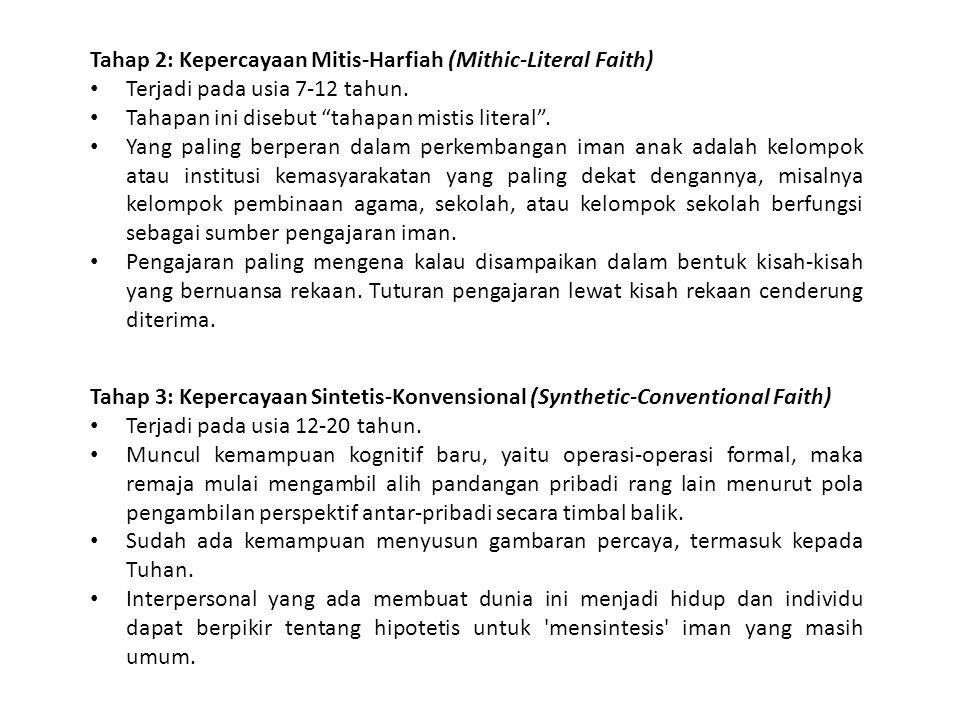 Tahap 2: Kepercayaan Mitis-Harfiah (Mithic-Literal Faith)