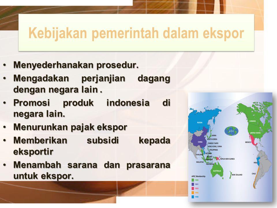 Kebijakan pemerintah dalam ekspor