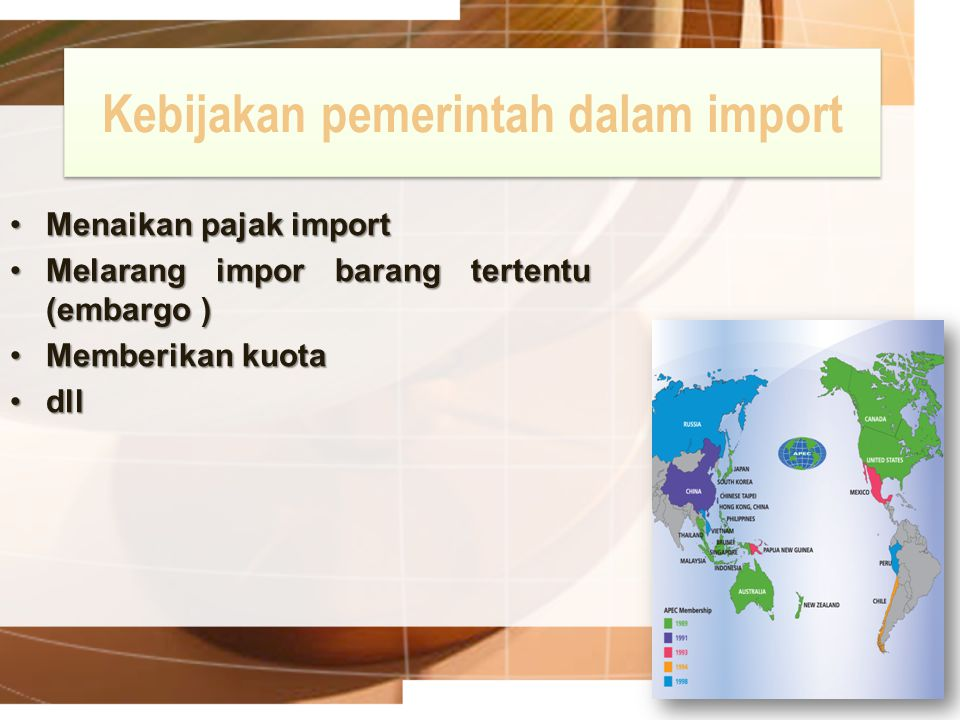 Kebijakan pemerintah dalam import