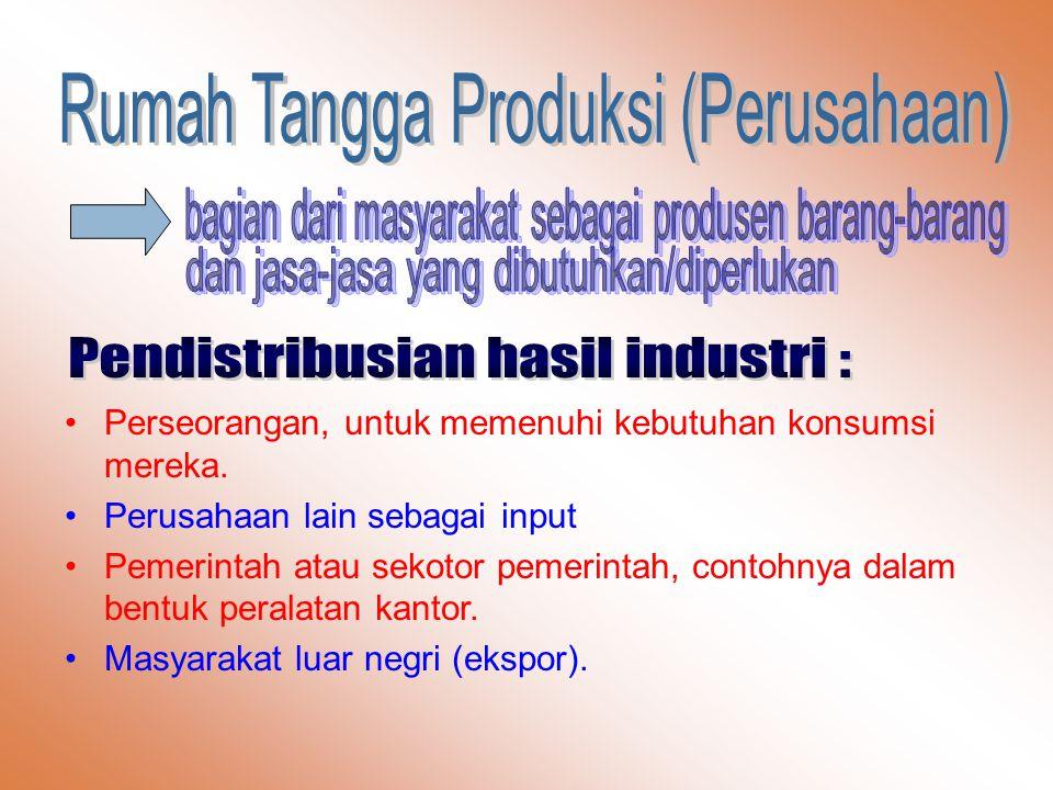 Pendistribusian hasil industri :