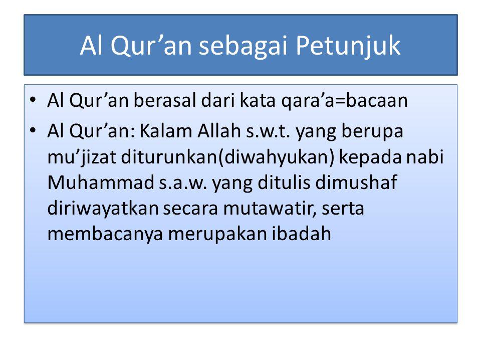 Al Qur'an sebagai Petunjuk