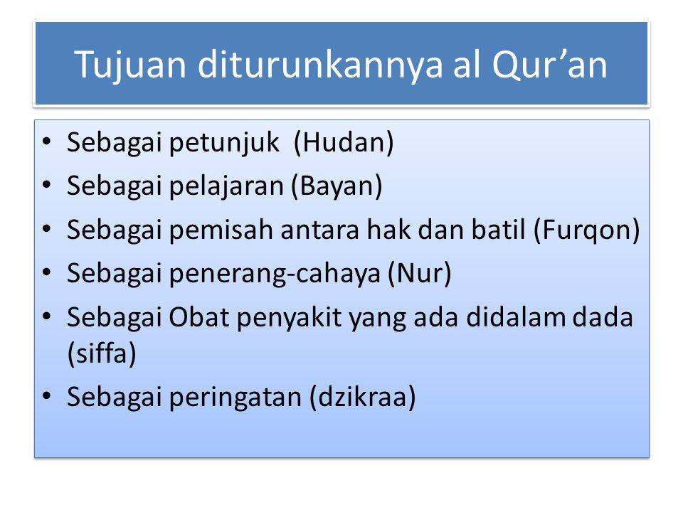 Tujuan diturunkannya al Qur'an