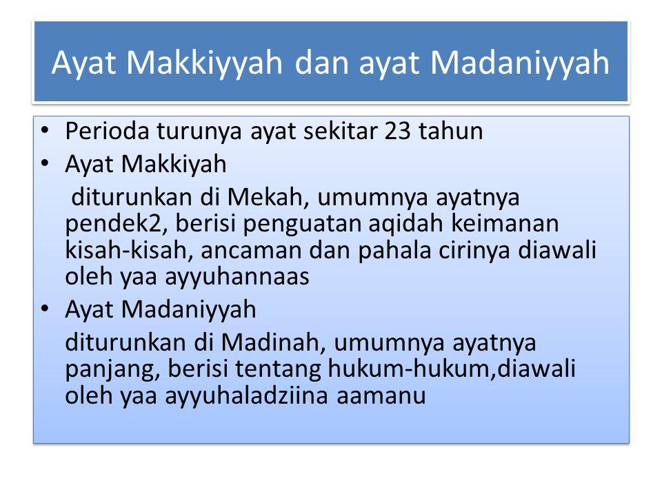 Ayat Makkiyyah dan ayat Madaniyyah