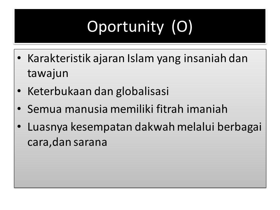 Oportunity (O) Karakteristik ajaran Islam yang insaniah dan tawajun