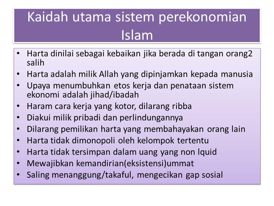 Kaidah utama sistem perekonomian Islam
