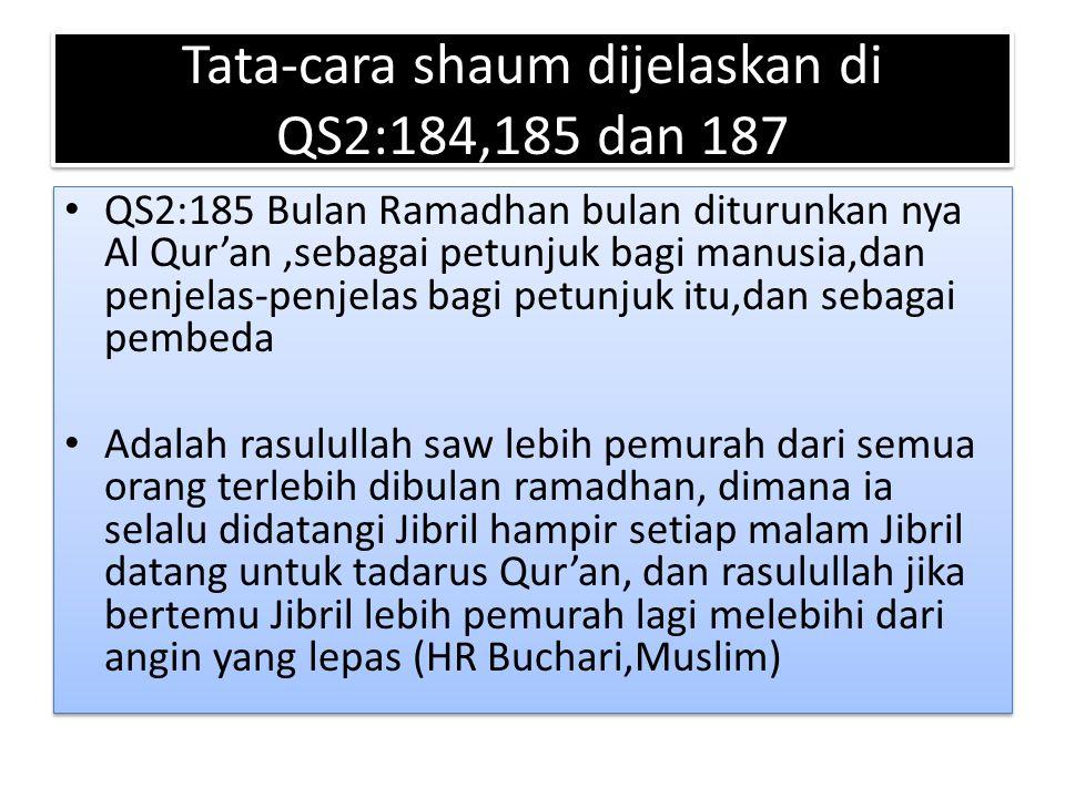 Tata-cara shaum dijelaskan di QS2:184,185 dan 187