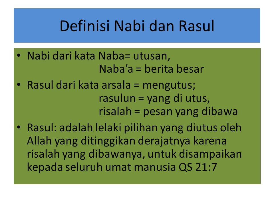 Definisi Nabi dan Rasul