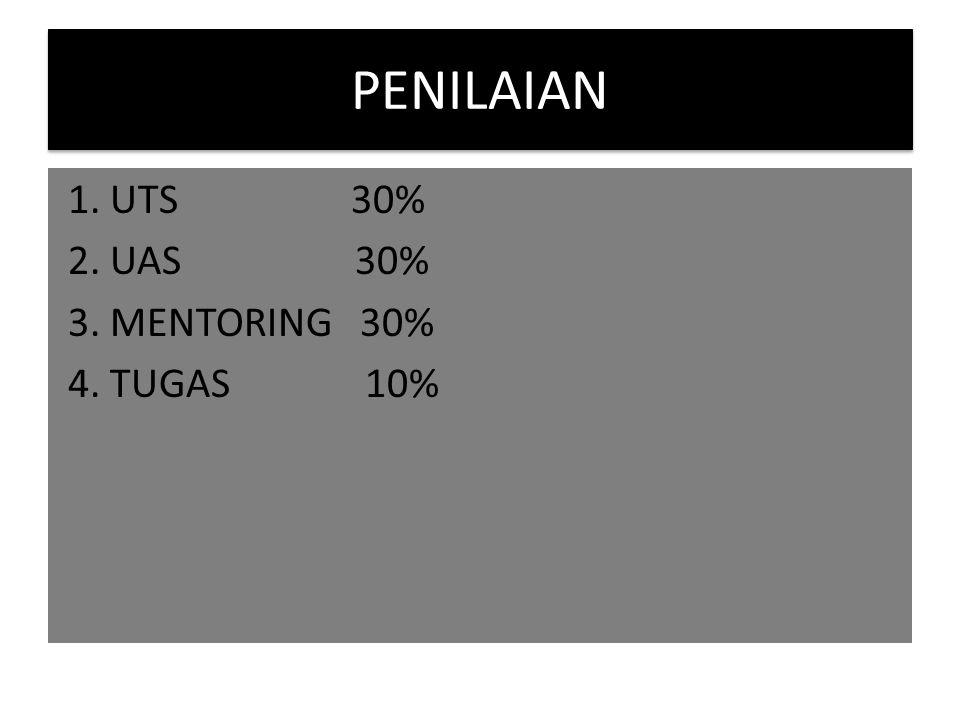PENILAIAN 1. UTS 30% 2. UAS 30% 3. MENTORING 30% 4. TUGAS 10%
