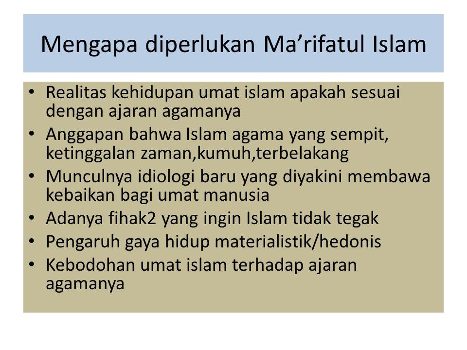 Mengapa diperlukan Ma'rifatul Islam