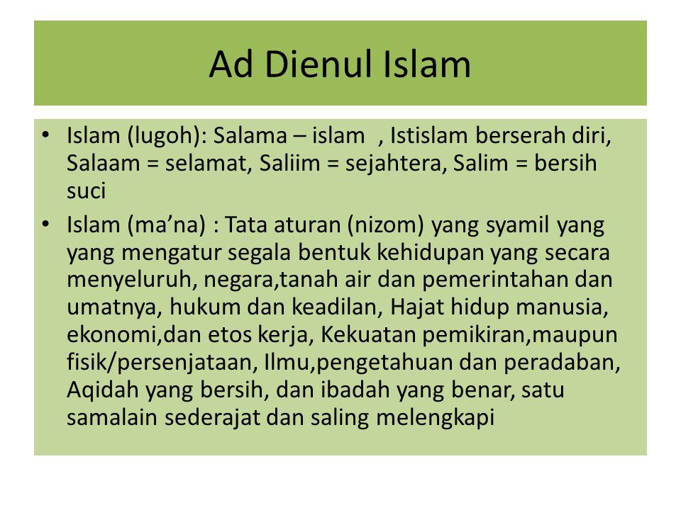 Ad Dienul Islam Islam (lugoh): Salama – islam , Istislam berserah diri, Salaam = selamat, Saliim = sejahtera, Salim = bersih suci.