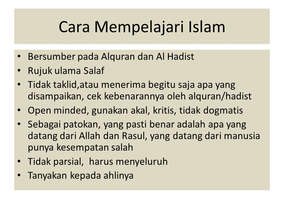 Cara Mempelajari Islam