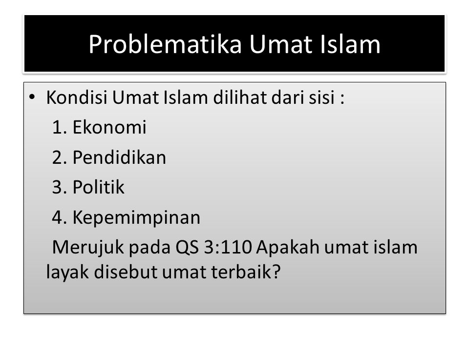 Problematika Umat Islam