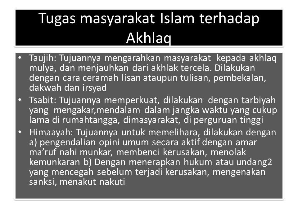 Tugas masyarakat Islam terhadap Akhlaq