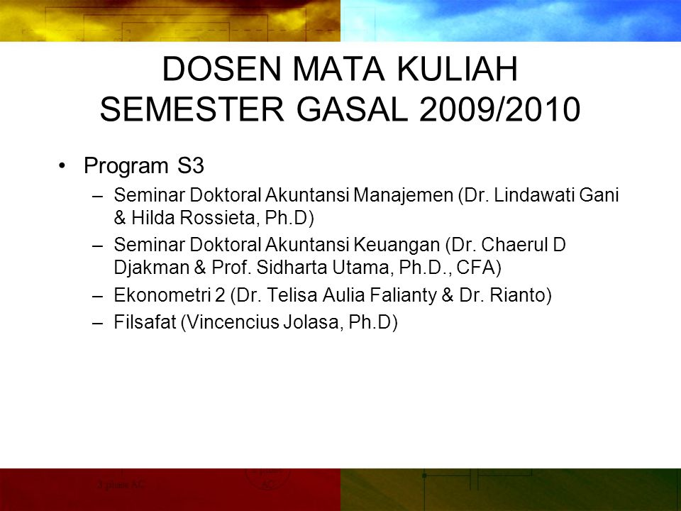 DOSEN MATA KULIAH SEMESTER GASAL 2009/2010