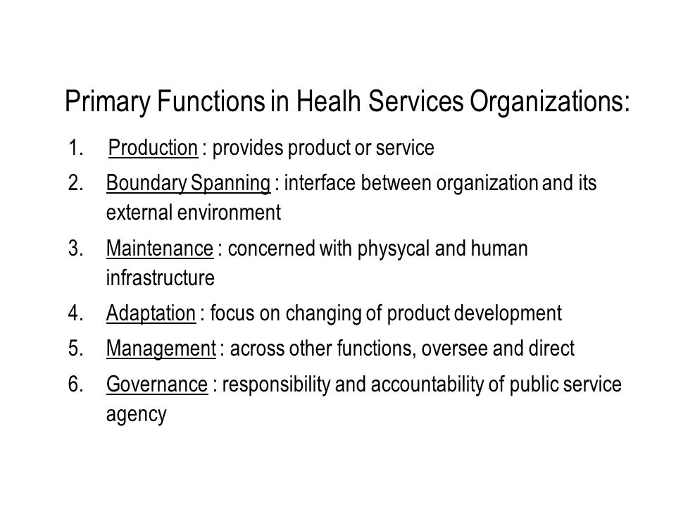 Primary Functions in Healh Services Organizations: