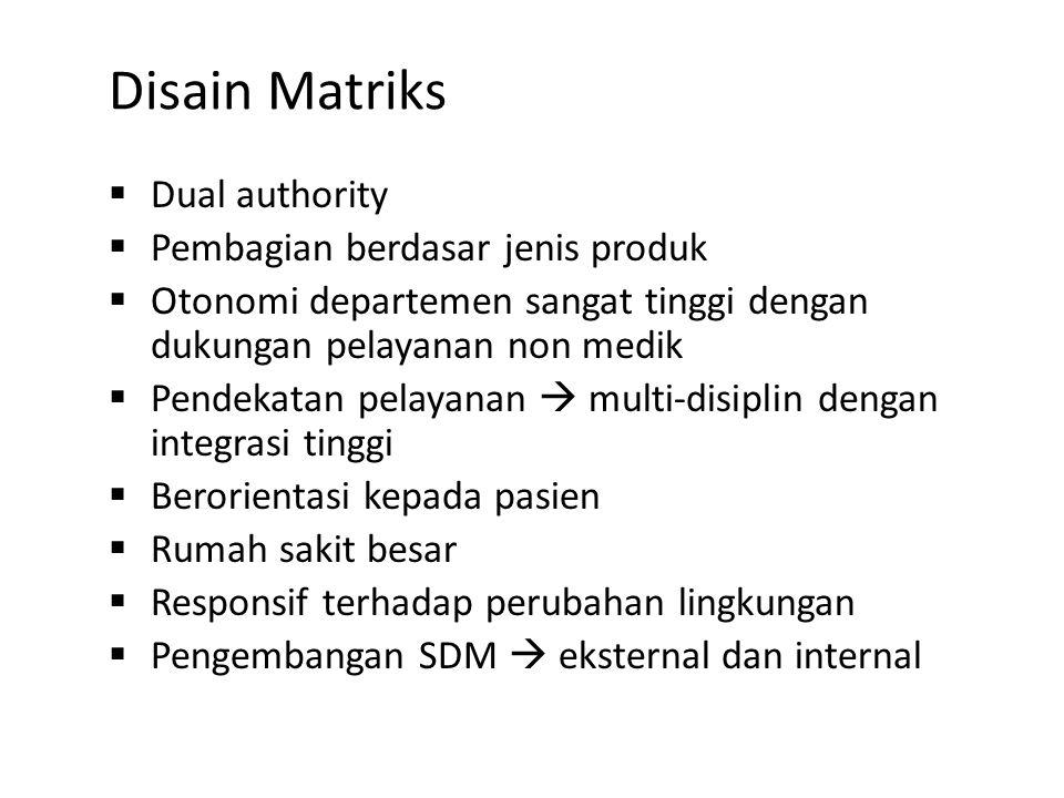 Disain Matriks Dual authority Pembagian berdasar jenis produk