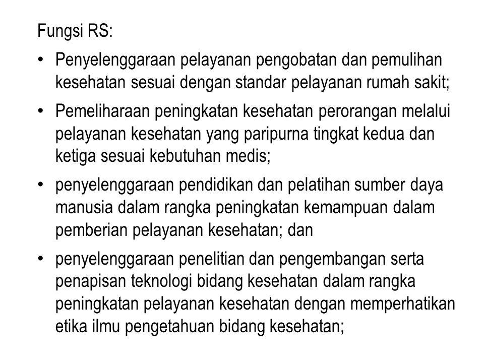 Fungsi RS: Penyelenggaraan pelayanan pengobatan dan pemulihan kesehatan sesuai dengan standar pelayanan rumah sakit;