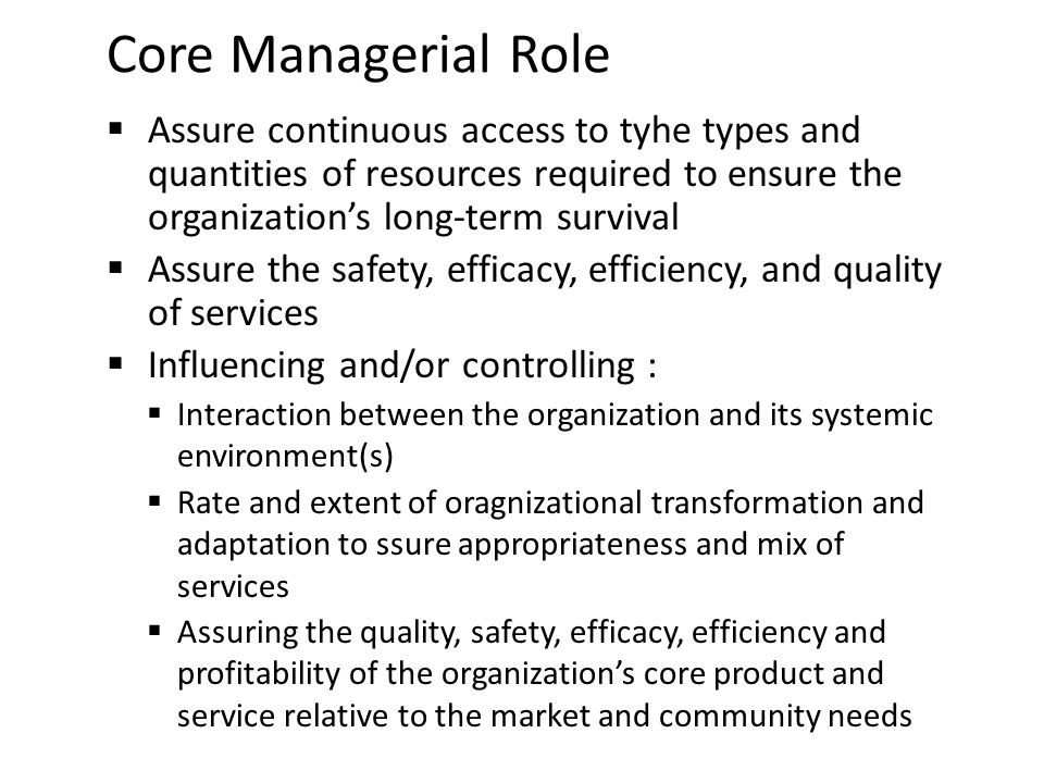 Core Managerial Role Assure continuous access to tyhe types and quantities of resources required to ensure the organization's long-term survival.