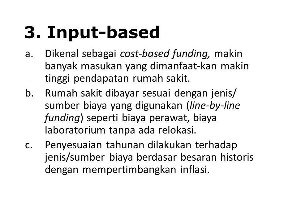 3. Input-based Dikenal sebagai cost-based funding, makin banyak masukan yang dimanfaat-kan makin tinggi pendapatan rumah sakit.