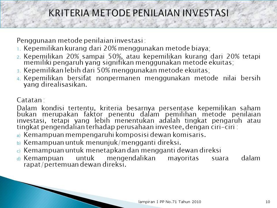 KRITERIA METODE PENILAIAN INVESTASI