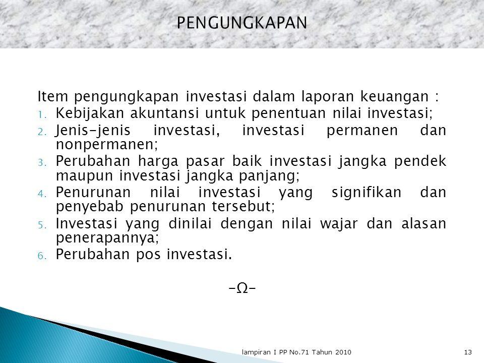 PENGUNGKAPAN Item pengungkapan investasi dalam laporan keuangan :