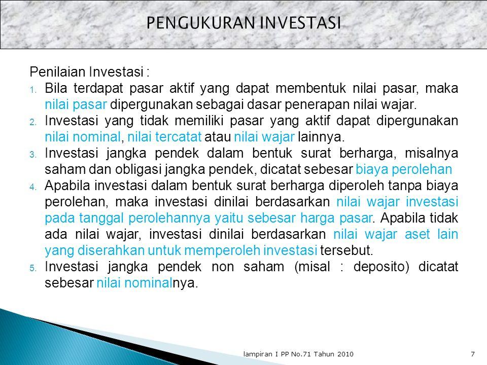 PENGUKURAN INVESTASI Penilaian Investasi :