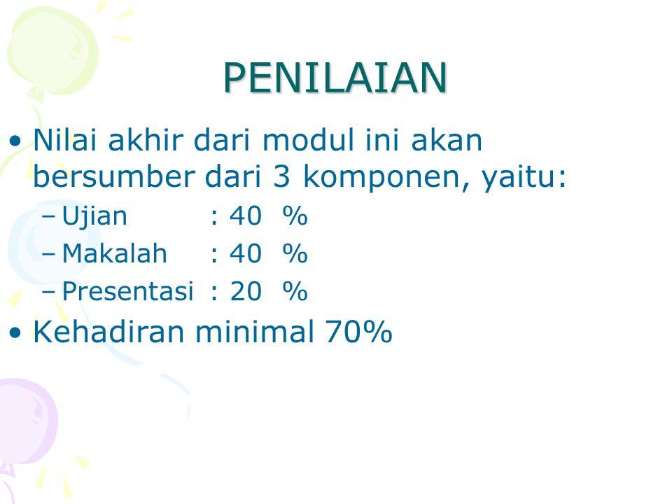 PENILAIAN Nilai akhir dari modul ini akan bersumber dari 3 komponen, yaitu: Ujian : 40 % Makalah : 40 %