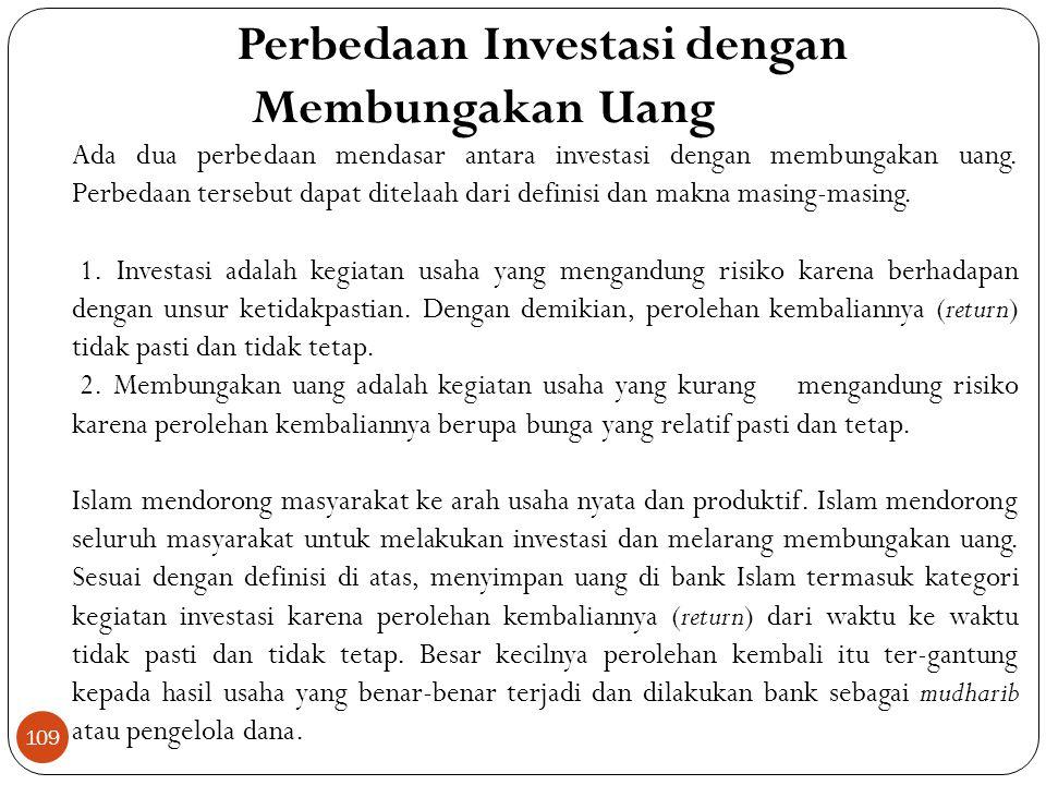 Perbedaan Investasi dengan Membungakan Uang
