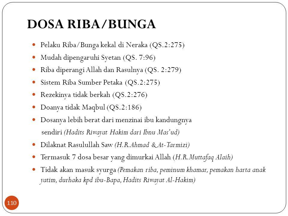 DOSA RIBA/BUNGA Pelaku Riba/Bunga kekal di Neraka (QS.2:275)