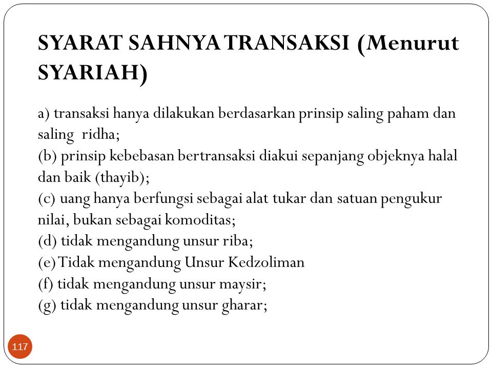 SYARAT SAHNYA TRANSAKSI (Menurut SYARIAH)