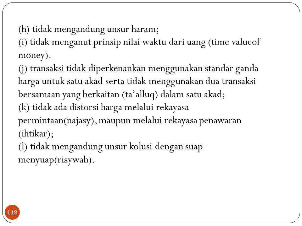 (h) tidak mengandung unsur haram;