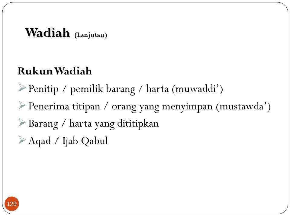 Wadiah (Lanjutan) Rukun Wadiah