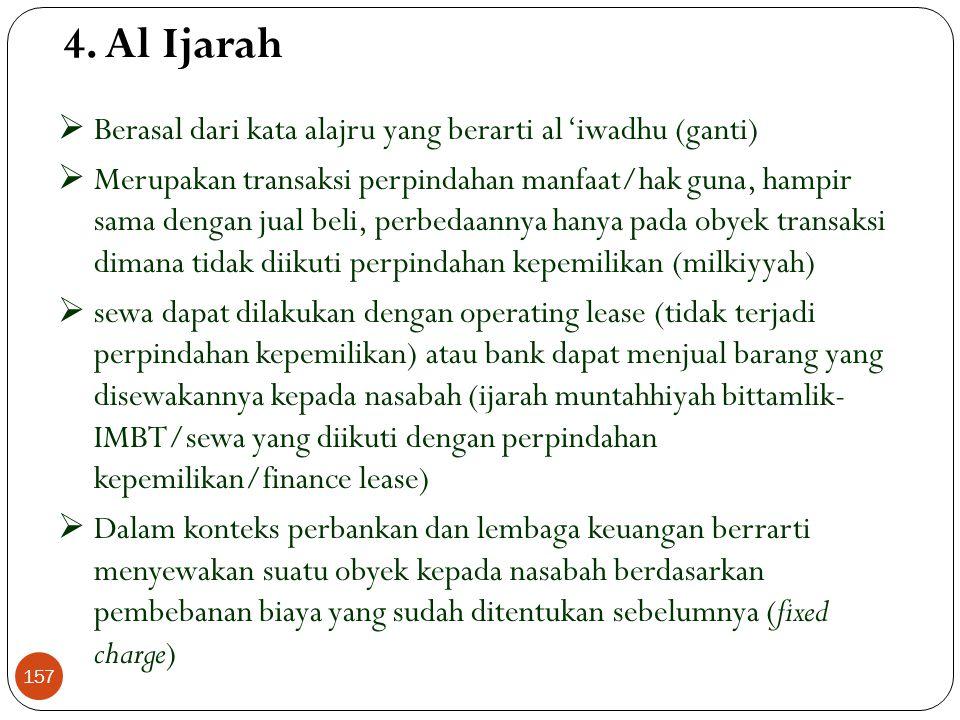 4. Al Ijarah Berasal dari kata alajru yang berarti al 'iwadhu (ganti)