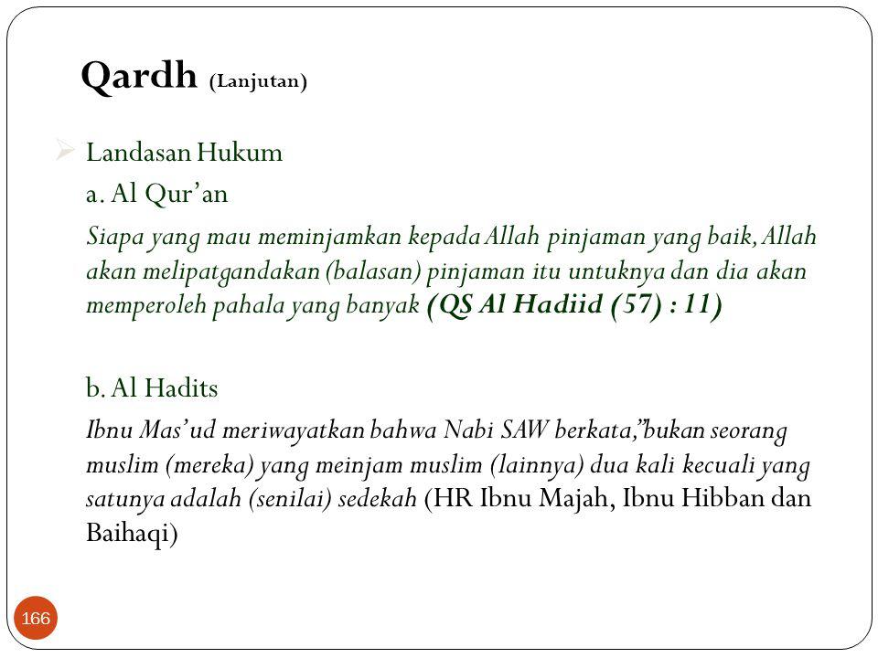 Qardh (Lanjutan) Landasan Hukum a. Al Qur'an