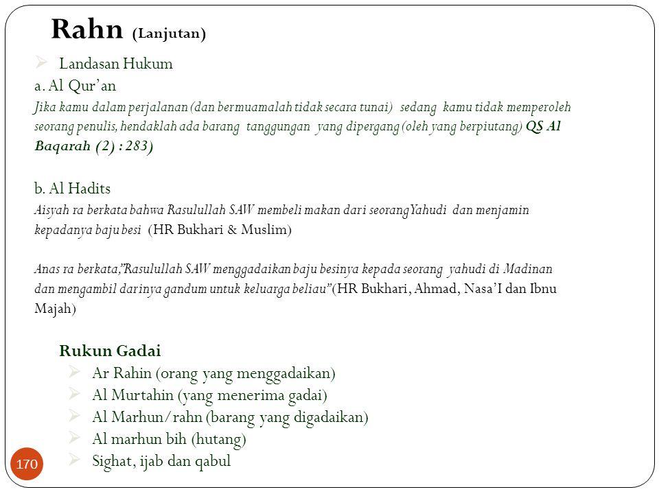 Rahn (Lanjutan) Landasan Hukum a. Al Qur'an b. Al Hadits Rukun Gadai