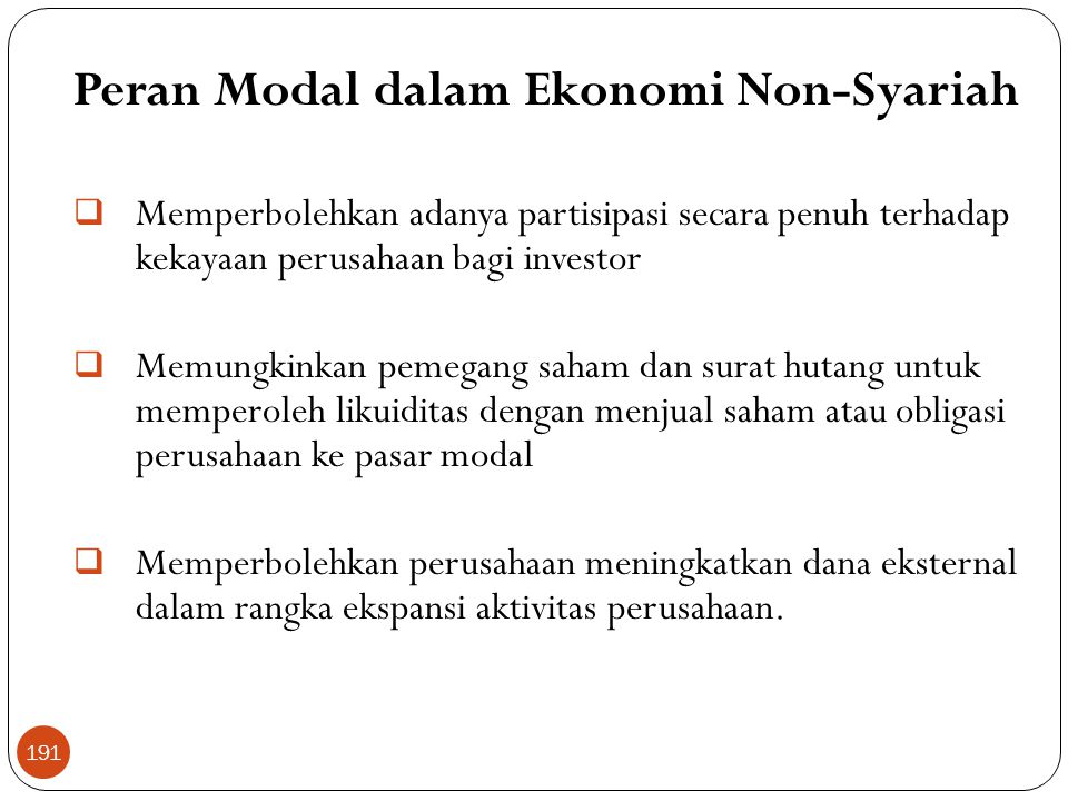 Peran Modal dalam Ekonomi Non-Syariah