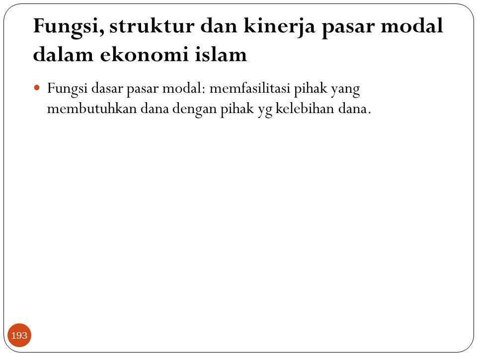 Fungsi, struktur dan kinerja pasar modal dalam ekonomi islam
