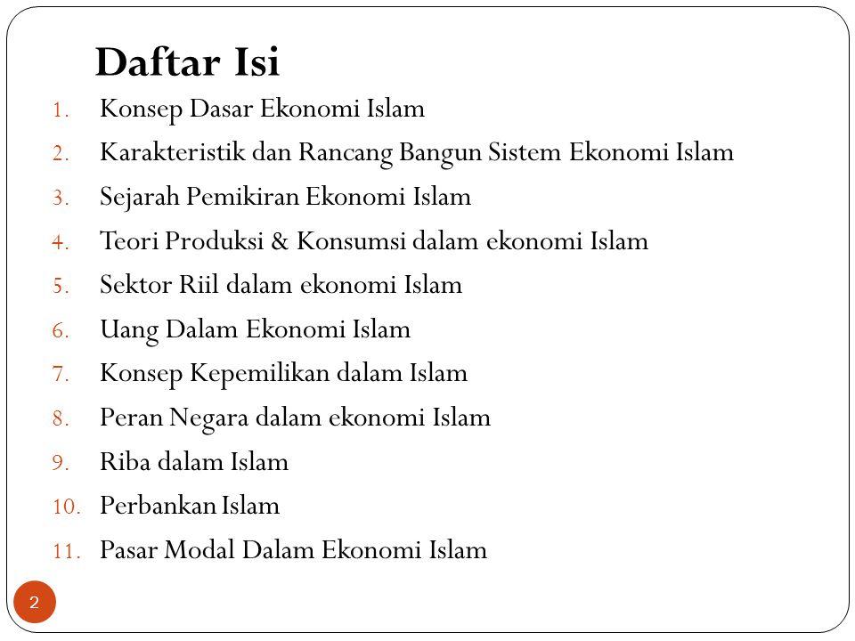 Daftar Isi Konsep Dasar Ekonomi Islam