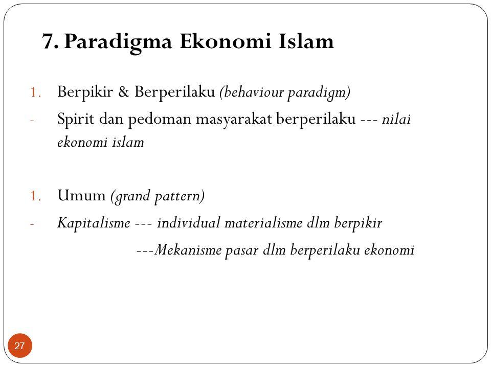7. Paradigma Ekonomi Islam